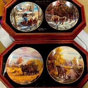 Pair framed double Georgia Jarvis plate set
